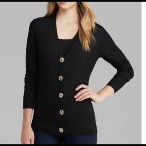 Tory Burch Simone Black Cardigan Sweater